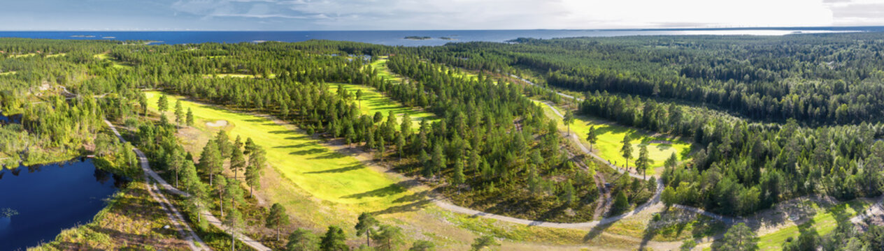 Aerial panorama on few narrow long golf courses in Northern forest. Unidentified golfers play golf on Golf course, pine trees around, Baltic Sea on horizon, forest lake, Northern Scandinavia.