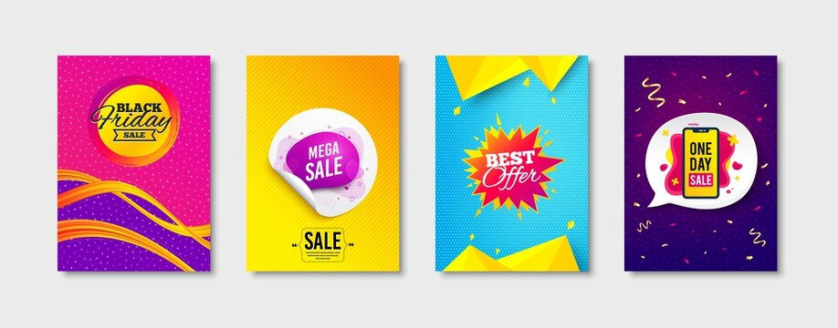 Mega sale, Best offer and Black friday promo label set. Sticker template layout. One day sign. Banner sticker, Flyer shape, Banner tag. Sale offer. Promotional tag set. Speech bubble banner. Vector