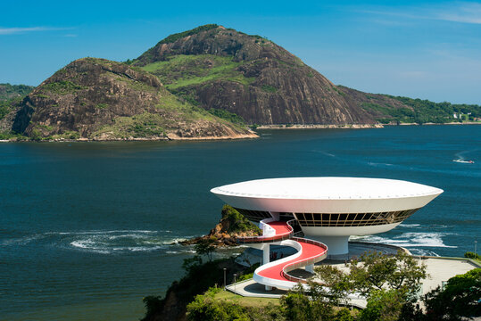 Niteroi, Rio de Janeiro / Brazil - October 31, 2018: Oscar Niemeyer's Contemporary Art Museum, one of the masterpiece of modern architecture, built on the rock in 1996.