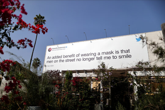 A Twitter billboard, part of a campaign in seven U.S. cities encouraging people to wear masks, is seen in Los Angeles