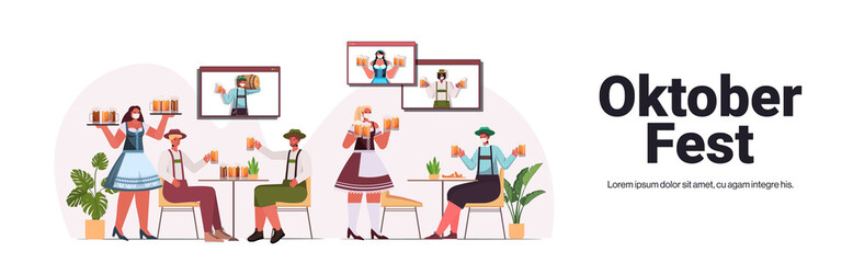waitresess in masks serving beer for men in bar Oktoberfest party celebration coronavirus pandemic concept people discussing during video call horizontal copy space vector illustration