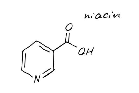 Niacin Chemistry Molecule Formula Hand Drawn Imitation
