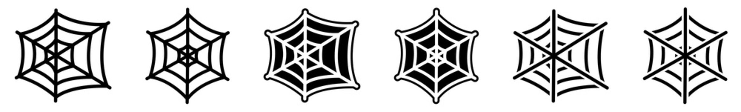 Spider Web Icon Black | Halloween Illustration | Webs Symbol | Creepy Net Logo | Spiderweb Sign | Isolated | Variations