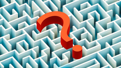 Red question mark over a blue rectangular maze or labyrinth 3D rendering illustration. Riddle, question, learning, imagination, ideas, cognition, mystery concepts.