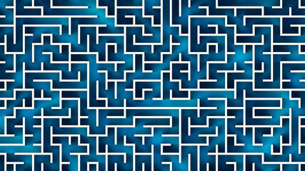Top view of a blue and white labyrinth or maze 3D rendering illustration.