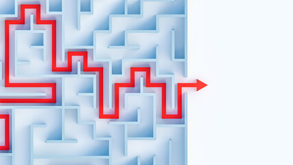 Maze or labyrinth with solution 3D rendering illustration top v