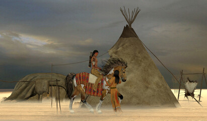 Indian Windrider - An American Indian brave rides out to find game for his family on an overcast day with ground fog.