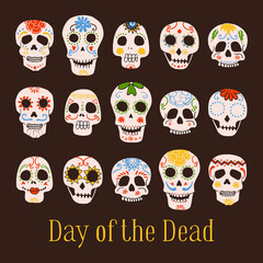 Day of the Dead Mexican painted skulls set. Hand drawn vector sketch illustration