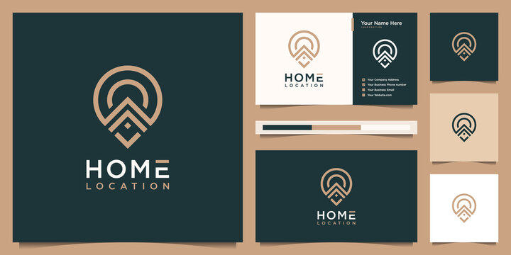 Luxury home and pin location logo design inspiration