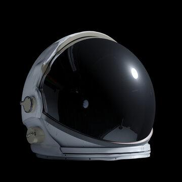 astronaut helmet isolated on black background