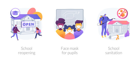 Back to school covid-19 prevention abstract concept vector illustration set. School reopening, face mask for pupils, sanitation, safe environment, pupil protection, disinfection abstract metaphor.
