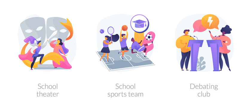 After-school activity abstract concept vector illustration set. School theater, sports team, debating club, kids drama class, speaking class, communication skill, workshop abstract metaphor.