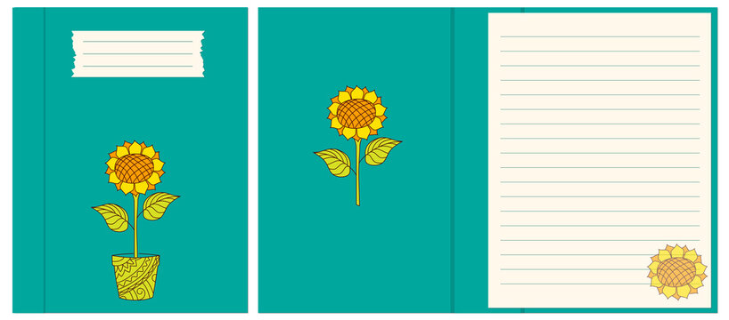 Design cover and interior notebook with sunflower in the pot