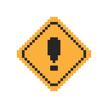 Pixel art 8-bit warning sign with exclamation symbol in yellow square frame - isolated vector illustration