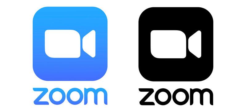 zoom logo. zoom illustration. zoom background.