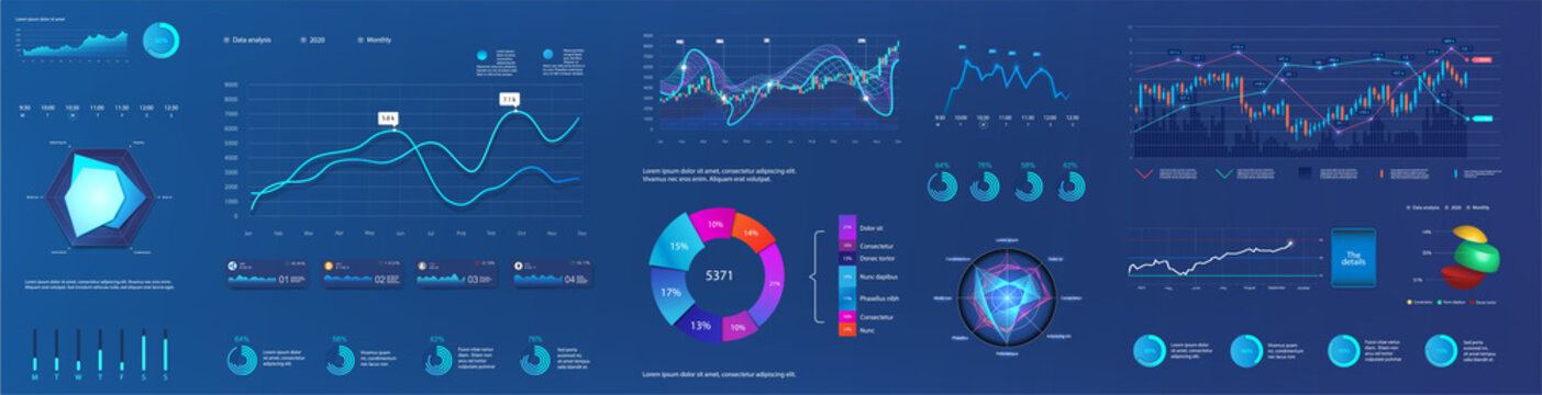 Graphic and charts for user interface dashboard. Abstract futuristic neon UI, UX, KIT infographic and digital elements for admin panel HUD. Data screen with graph, ui panel and infographics. Vector