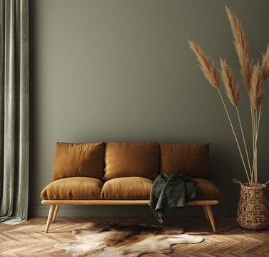 Modern dark green home interior with brown couch and pampas in wicker basket, 3d render