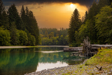 General view of the Hoh river in Washington State
