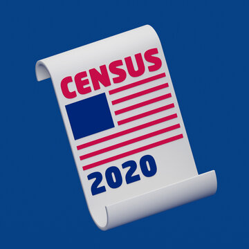 US Census Form with abstract flag of America, on a half open rolled up census 20202 form, on isolated blue background