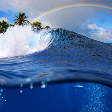 Perfect tropical ocean view splitted by waterline to two part. Shorebreak  breaking surfing wave. Palms and clouds in daylight with colorful rainbow.