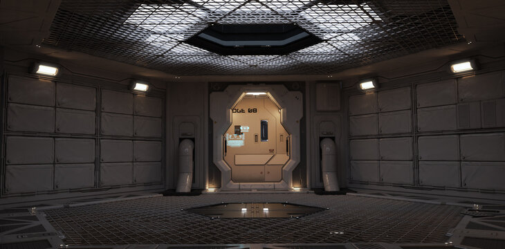 Futuristic back drop sci fi corridor room with lighted accents. 3d rendering.