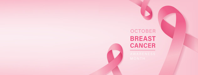 Beautiful breast cancer awareness campaign banner with pink ribbon symbols on pastel light pink background and space for text