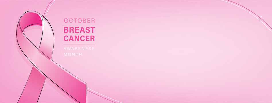 Breast cancer awareness campaign banner with pink ribbon symbol on pastel pink gradient background and space for text