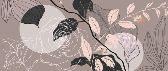 Obraz Luxury Rose background vector with golden metallic decorate - fototapety do salonu