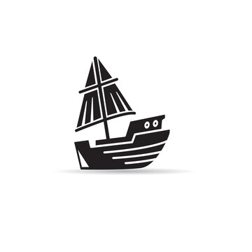 sailing vessel icon vector on white background