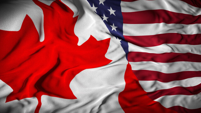 Canada - US Combined Flag | Canada and United States Relations Concept - 3D Illustration