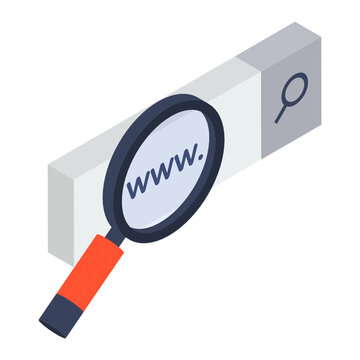 Search bar under magnifying glass, web searching icon in isometric vector