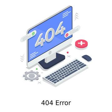 Attention alert, web error 404 illustration in isometric vector design