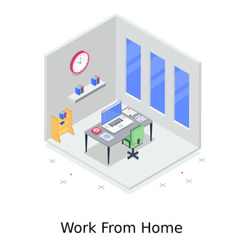 Work from home, isometric vector style