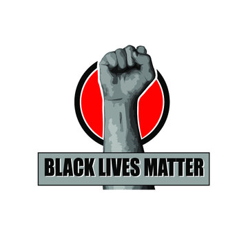 Black Lives Matter. The raised fist is a symbol of the struggle for equality of black people in the United States of America. Problem of racism.