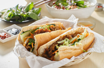vietnamese bahn mi sandwich with pork belly
