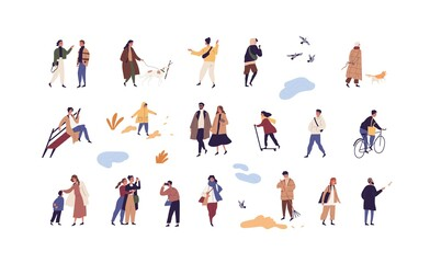 Door stickers Wall Decor With Your Own Photos Set of people walk and performing outdoor activity at autumn season vector flat illustration. Collection of man, woman and children talk, play, ride and stroll enjoy fall weather isolated on white
