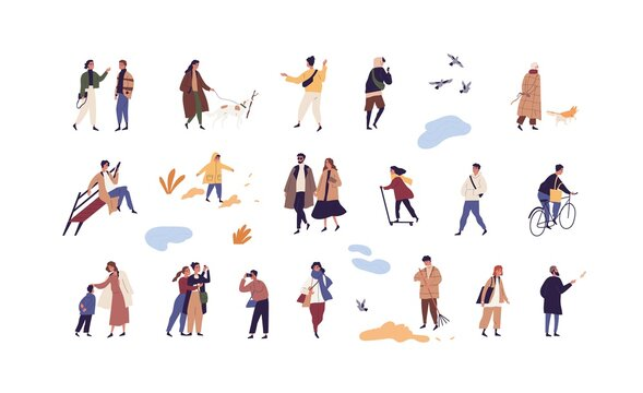 Set of people walk and performing outdoor activity at autumn season vector flat illustration. Collection of man, woman and children talk, play, ride and stroll enjoy fall weather isolated on white