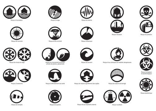 Risques naturels et technologiques - Pictogrammes