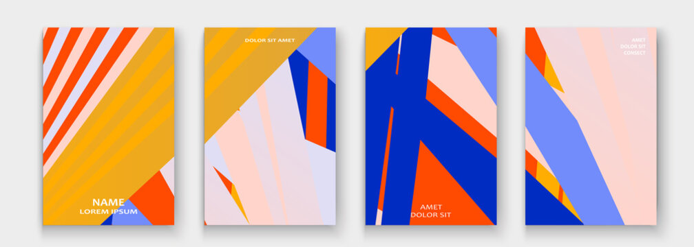 Minimal cover collection design. Halftone yellow, red, blue gradients. Abstract retro 90s style texture geometric pattern lines. Striped minimalistic trend backgrounds. Modern template design for web