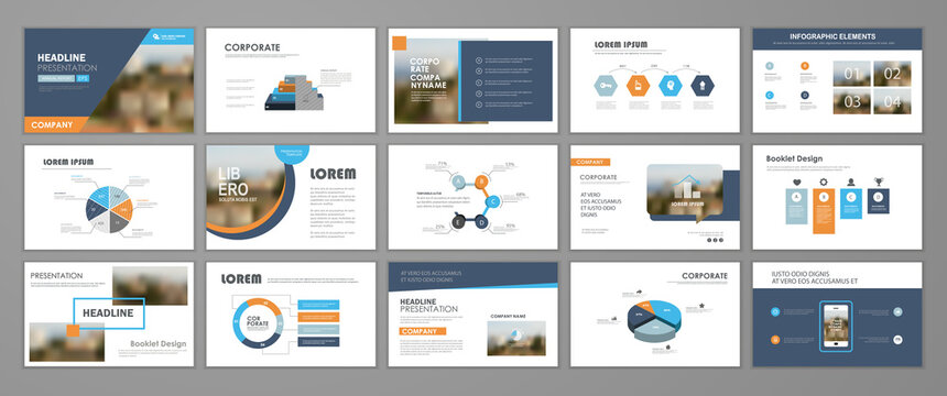 Presentation templates design. Vector templates portfolio with infographic elements. Multipurpose template for brochure cover, annual report, advertising, presentation slide, flyer leaflet.