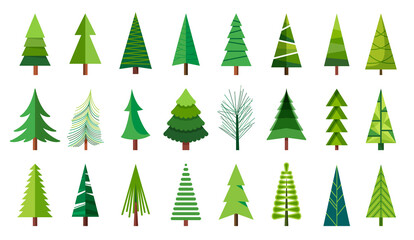 Christmas trees. Sketch a Doodle pine tree. Illustration hand drawn art