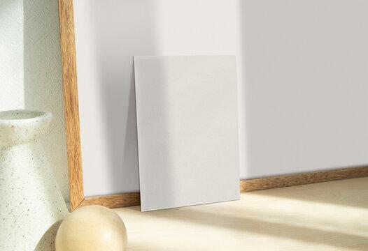 5X7 Card Mockup Empty Textured Paper Stationery Mockup Invitation Greeting Card Mockup