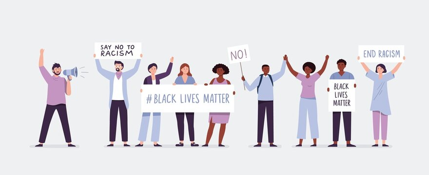 Protests across America. People holding posters against racism, BLM, Black lives matter. Stop racism and stronger together concept. Vector flat illustration.