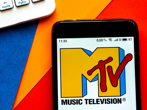In this photo illustration  a MTV (originally an initialism of Music Television) logo is seen displayed on a smartphone