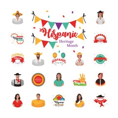 Poster Snelle auto s national hispanic heritage month icons group vector design