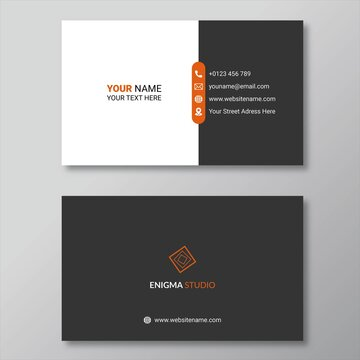 Black & orange simple business card design template
