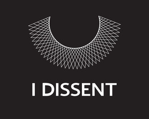 Door stickers Wall Decor With Your Own Photos I Dissent vector concept on black. Dissent lace collar and white lettering isolated.