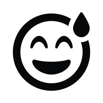 Grin beam sweat emoji icon
