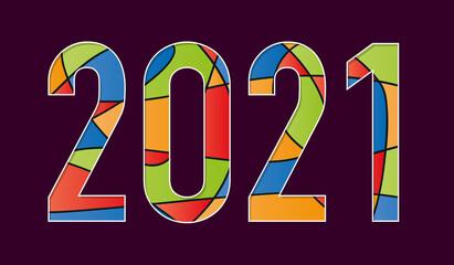 2021 écrit avec des formes géométriques de couleurs, rouges, bleues, jaunes et vertes sur un fond noir.