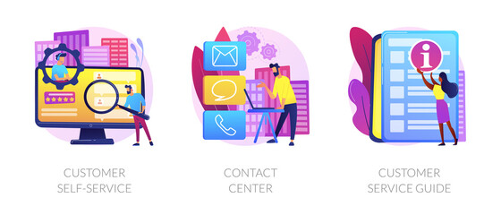 Client support online helpline. Digital product maintenance tutorial. Customer self-service, contact center, customer service guide metaphors. Vector isolated concept metaphor illustrations